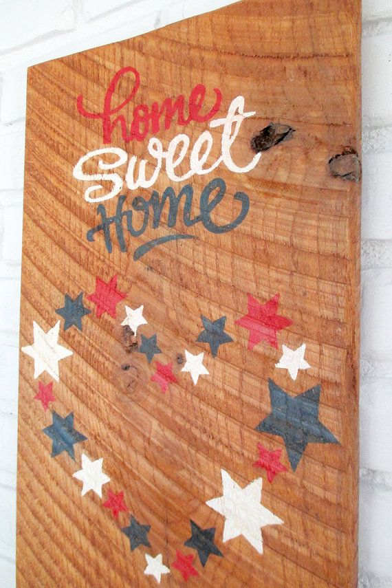 Home Sweet Home Heart and Stars Americana Rustic Folk Art by VintageSignDesigns