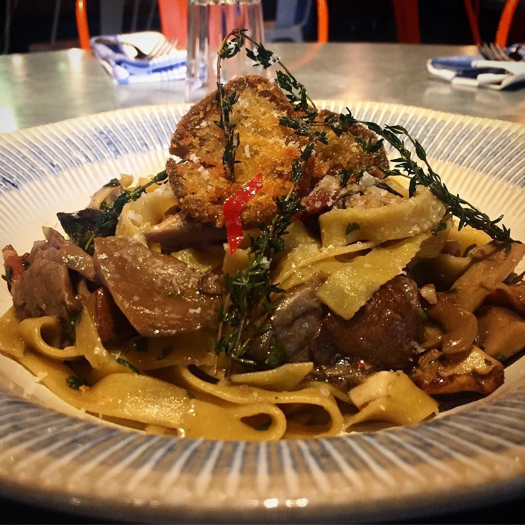 Jamie's Italian finished special of the day- our homemade tagliatelle with wild mushrooms. So good so delicious so tasty! X by gennarocontaldo