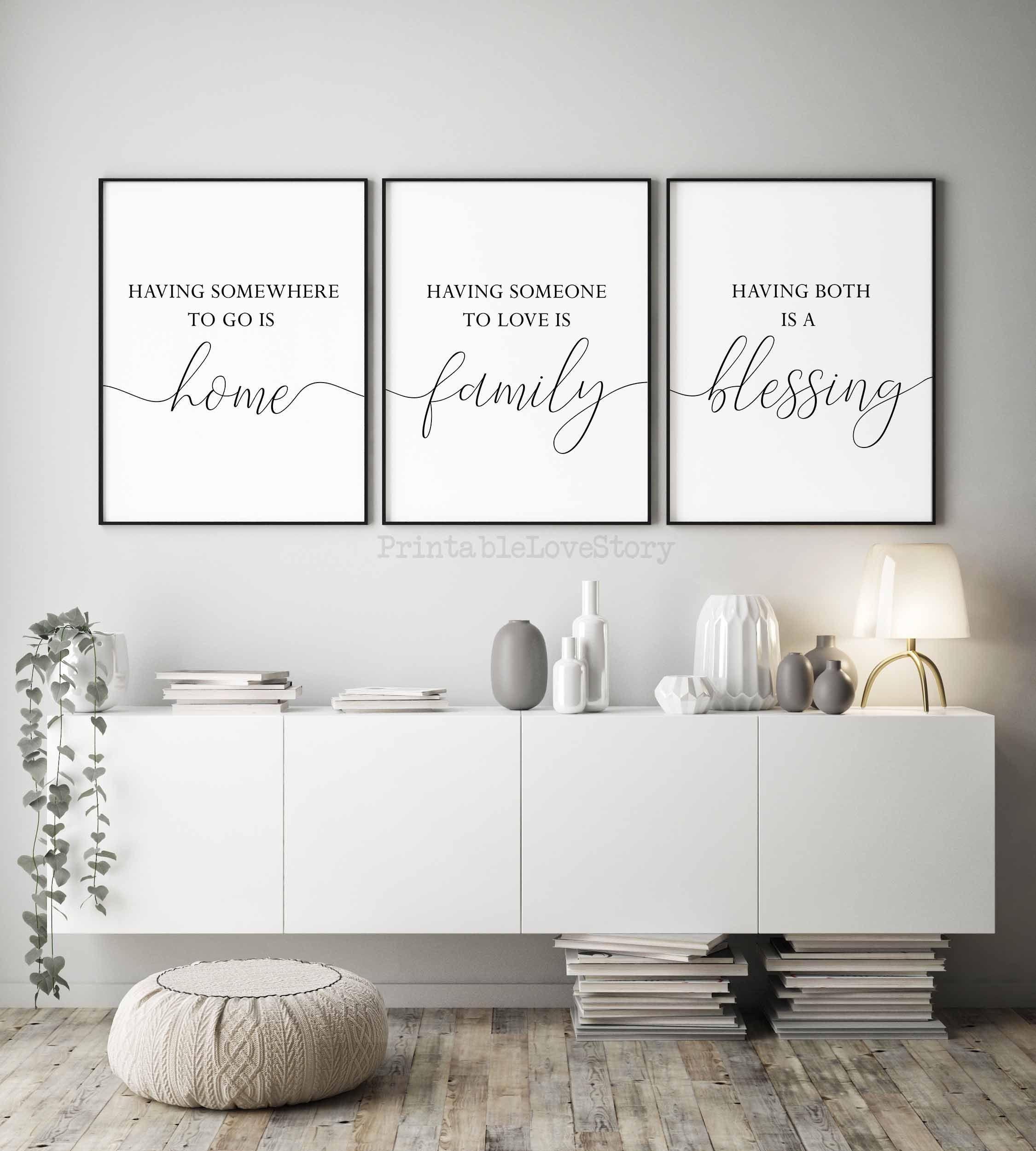 Home Signhome Decorfamily Wall Decorset Of 3 Printsliving Etsy In 2020 Serenity Prayer Wall Art Bible Verse Wall Art Prayer Wall