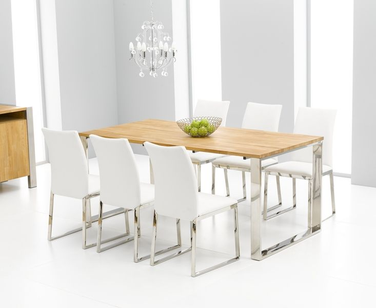 Very Nice White Dining Table Chairs Roseta Oak And Chrome Dining Table Cm  And Scala White Dining Chairs On Diningroom