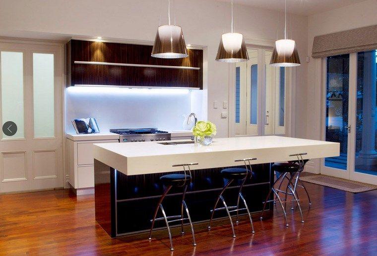 cocina con isla en blanco y negro | Cocina | Pinterest | Interiores ...