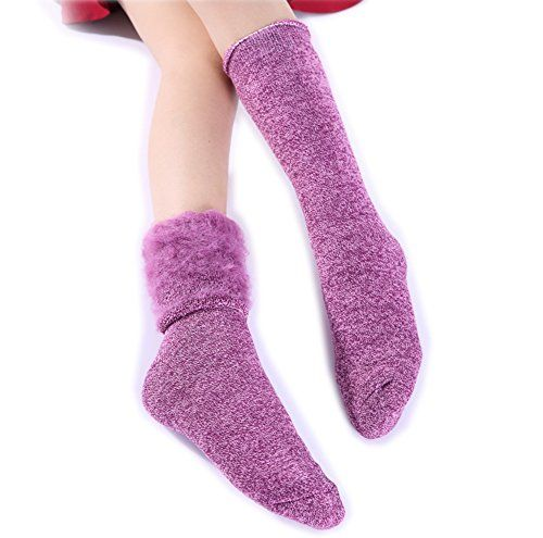 Velice 2 Pairs Wonmen's Super Warm Fleece Lining Winter Socks Christmas Gift Socks