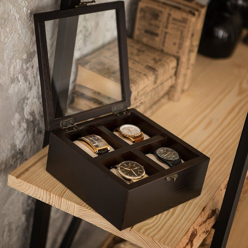 Mens Watch Box Hetch Ds1 Wenge For 4 Wood Watch Case Wooden Etsy In 2020 Mens Watch Box Wooden Watch Box Wood Watch Box