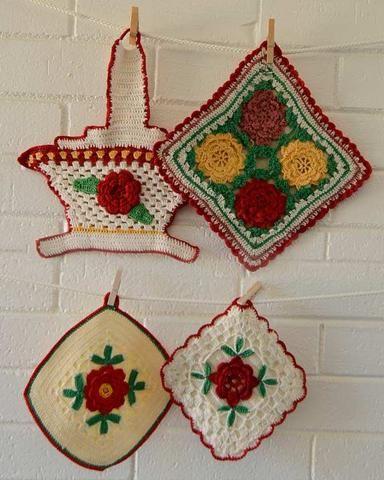 Vintage Red Rose Potholders Crochet Pattern   Blüten und Handarbeiten