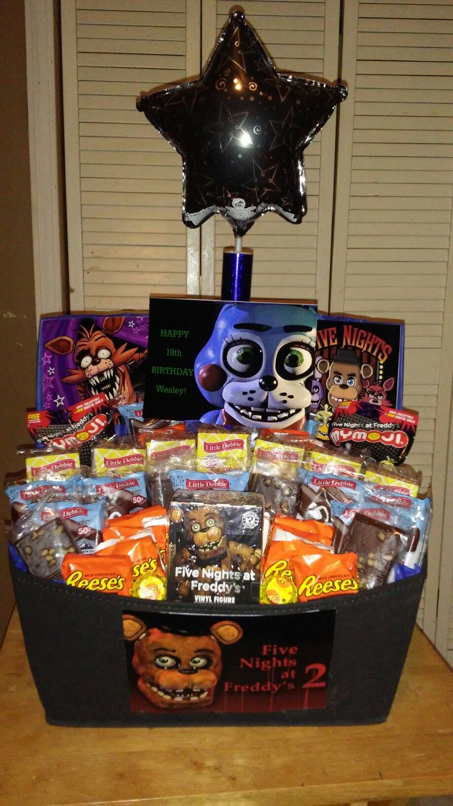Five nights at freddys gift basket with little debbie