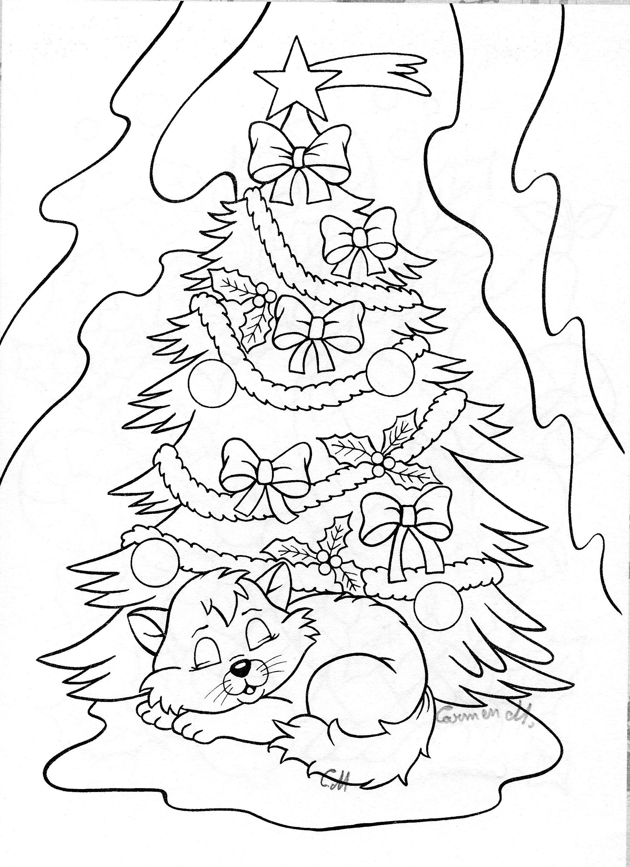Christmas Tree And Kitten Christmas Tree Coloring Page