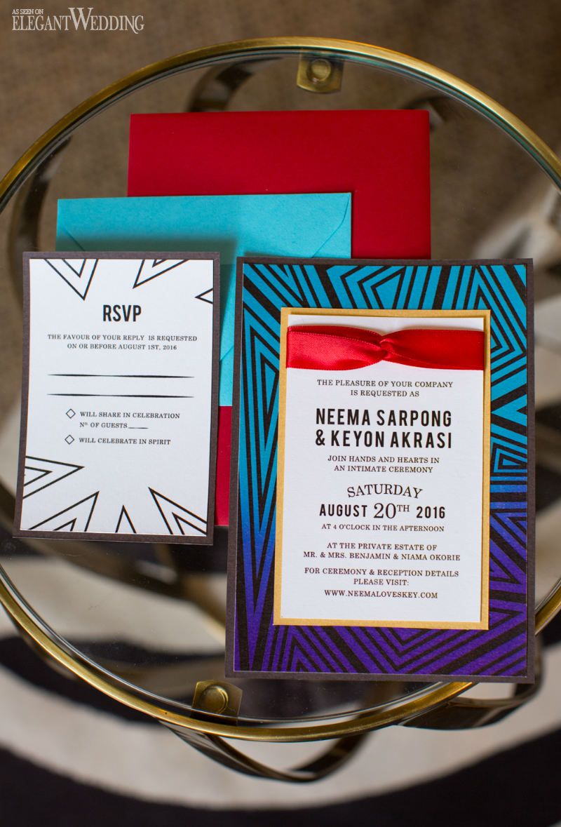 Multicoloured wedding invitations and stationery! QUEEN OF AFRICA TROPICAL WEDDING IDEAS www.elegantwedding.ca