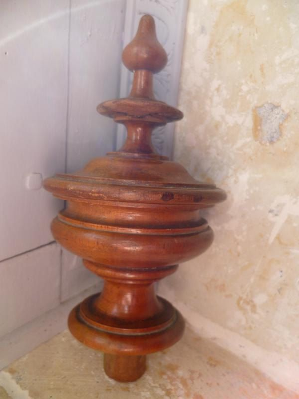 French Antique Staircase Newel Post Finial Walnut Shabby Chic Victorian Treen French Antiques Newel Posts Finials