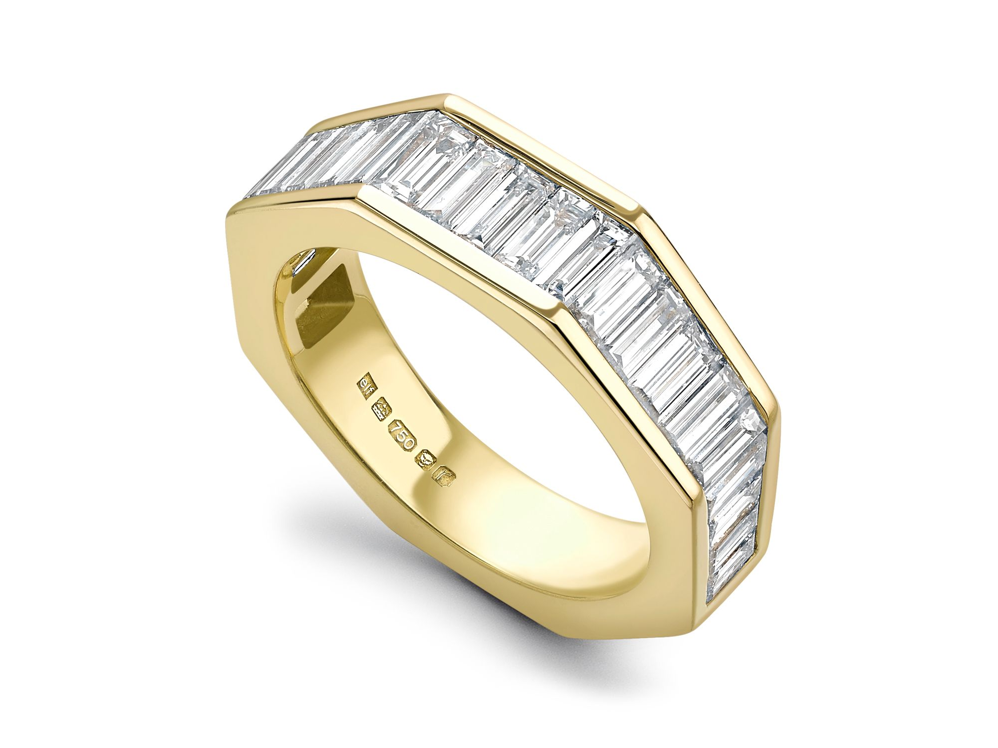 PARIS CRISP YELLOW GOLD OCTAGON ETERNITY BAND WITH 5 TAPERED CHANNELS OF BAGUETTE