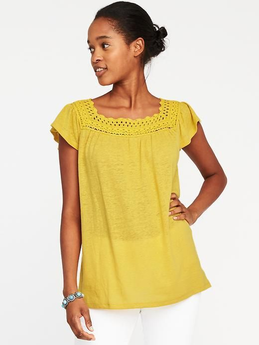 02afeb87 Old Navy Crochet-Trim Linen-Blend Swing Top for Women | Products ...