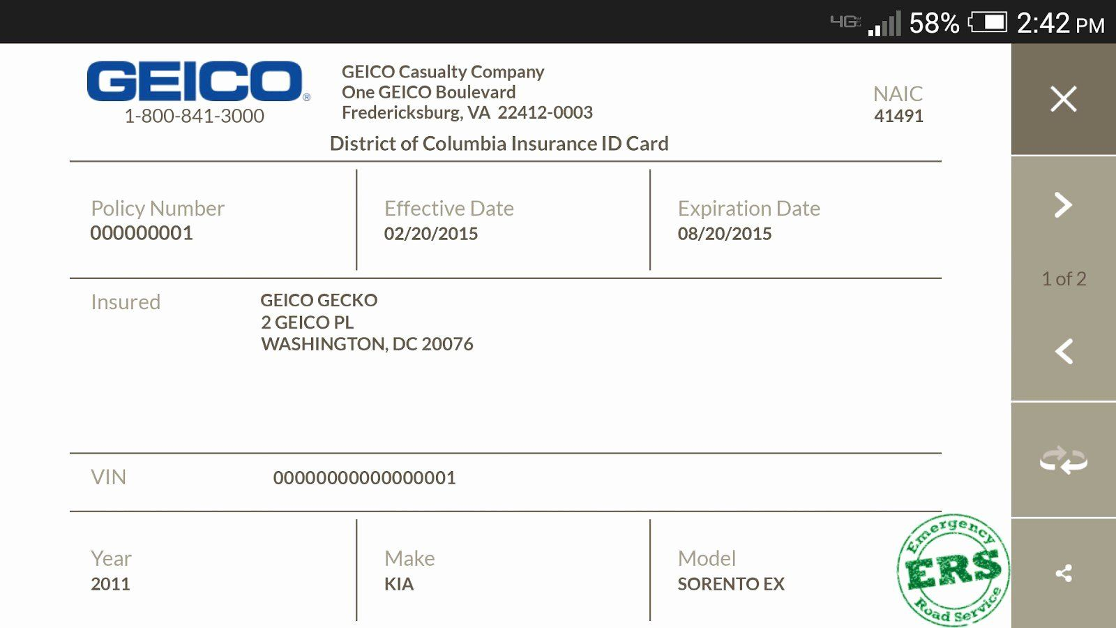 Auto Insurance Card Template Free Download In 2020 With Images