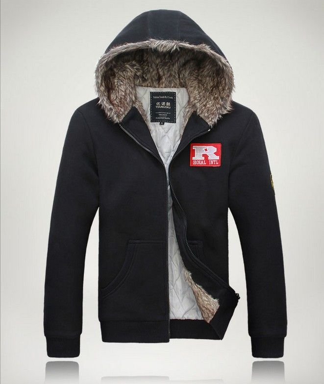 Mens Thickening faux fur hoodie jacket male hooded cardigan winter Outdoor warm fur trench coat men zip up hoodies