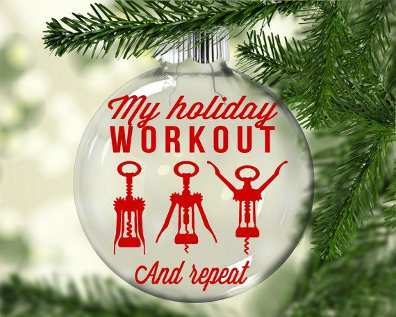 Funny Christmas Ornament | Holiday Workout Christmas Ornament | Wine Christmas  Ornament | Corkscrew Christmas Ornament | Funny Ornament - Funny Christmas Ornament Holiday Workout Christmas Ornament Wine