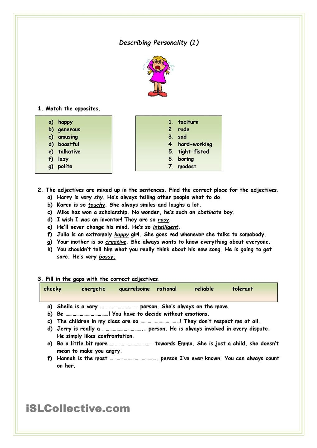 Describing Personality English Lessons Pinterest Personality