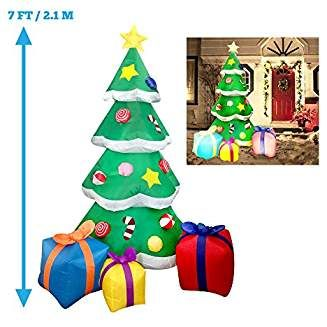 7 foot led light up giant christmas tree inflatable with 3 gift wrapped boxes perfect for blow up yard decoration indoor outdoor yard garden christmas - Amazon Christmas Decorations Indoor