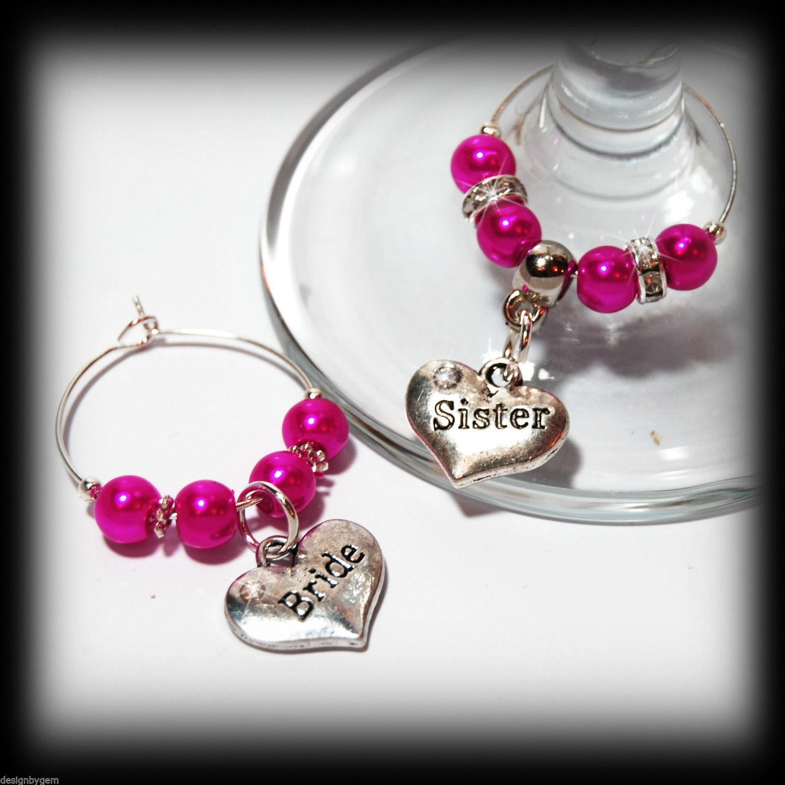 Beautiful Hot Pink Wedding Wine Gl Charms For Top Table Or Favours Decor