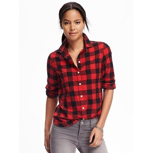 Red Plaid Carolers 18: Old Navy Womens Classic Flannel Shirt ($18) Liked On