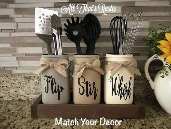 Flip, Stir, Whisk Utensil Holder, Mason Jar Decor, Kitchen Decor, Rustic Utensil Holder,Utensil Holder,Mason Jar Utensil Holder,Rustic Decor #masonjarcrafts