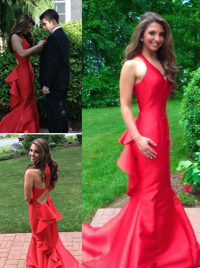 New Fashion Red with Straps Backless Prom Dress Open Backs Evening ...