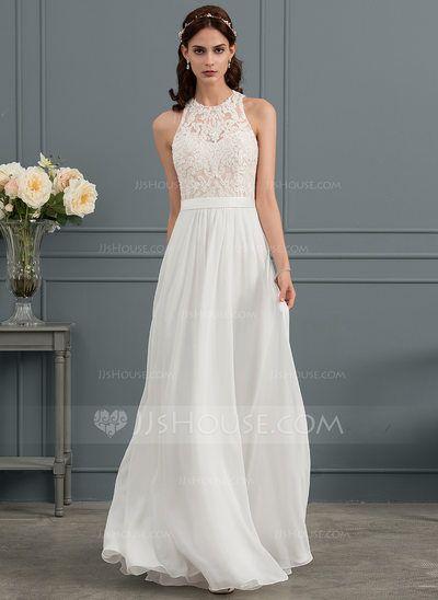 Photo of [€ 184.00] A-Line Scoop Floor-Length Chiffon Wedding Dress …