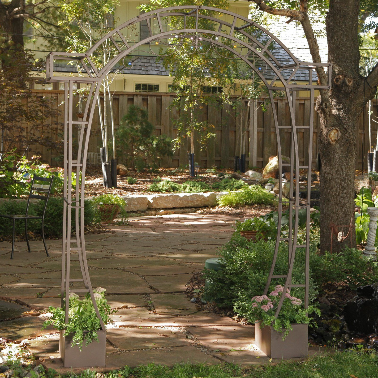 Have to have it. Coral Coast Jeweled Metal Arch Arbor with Planters ...