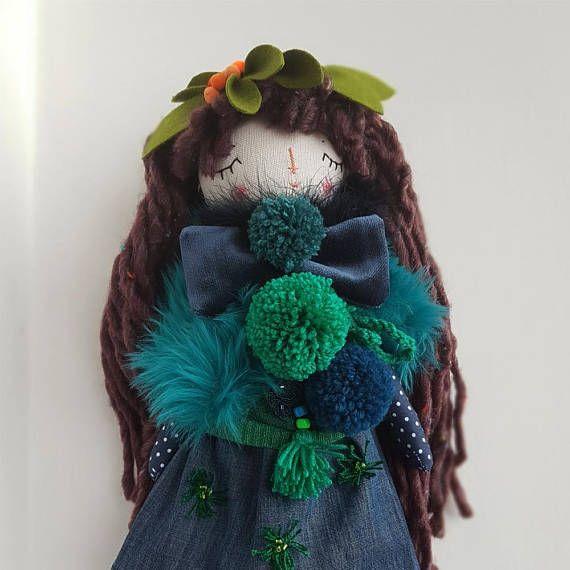 16 Forest Princess Rag Doll OOAK Doll Brown Hair #thedollsunique #doll #dollmaker #handmade #handmadedoll