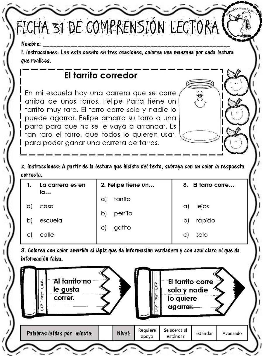 Lecturitas I Fichas De Comprensión Lectora Página 34 Comprensión Lectora Lectura De Comprensión Lecturas Para Comprension Lectora