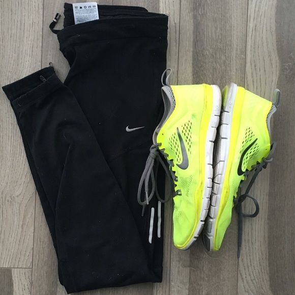 NIKE Dry Fit Running Tight Black Running Tights. Gently Worn. Providing pictures. Zips at ankles. Small pocket back right side. Shoes sold separately (name a price over 60 if you like them) Nike Pants Leggings