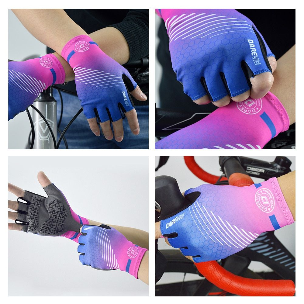 Shock-Absorbing Gel Padded Biking Gloves Women Shockproof Cycling Gloves Breathable MTB Bicycling Gloves for Men Darevie DVG004 Half Finger Cycling Gloves