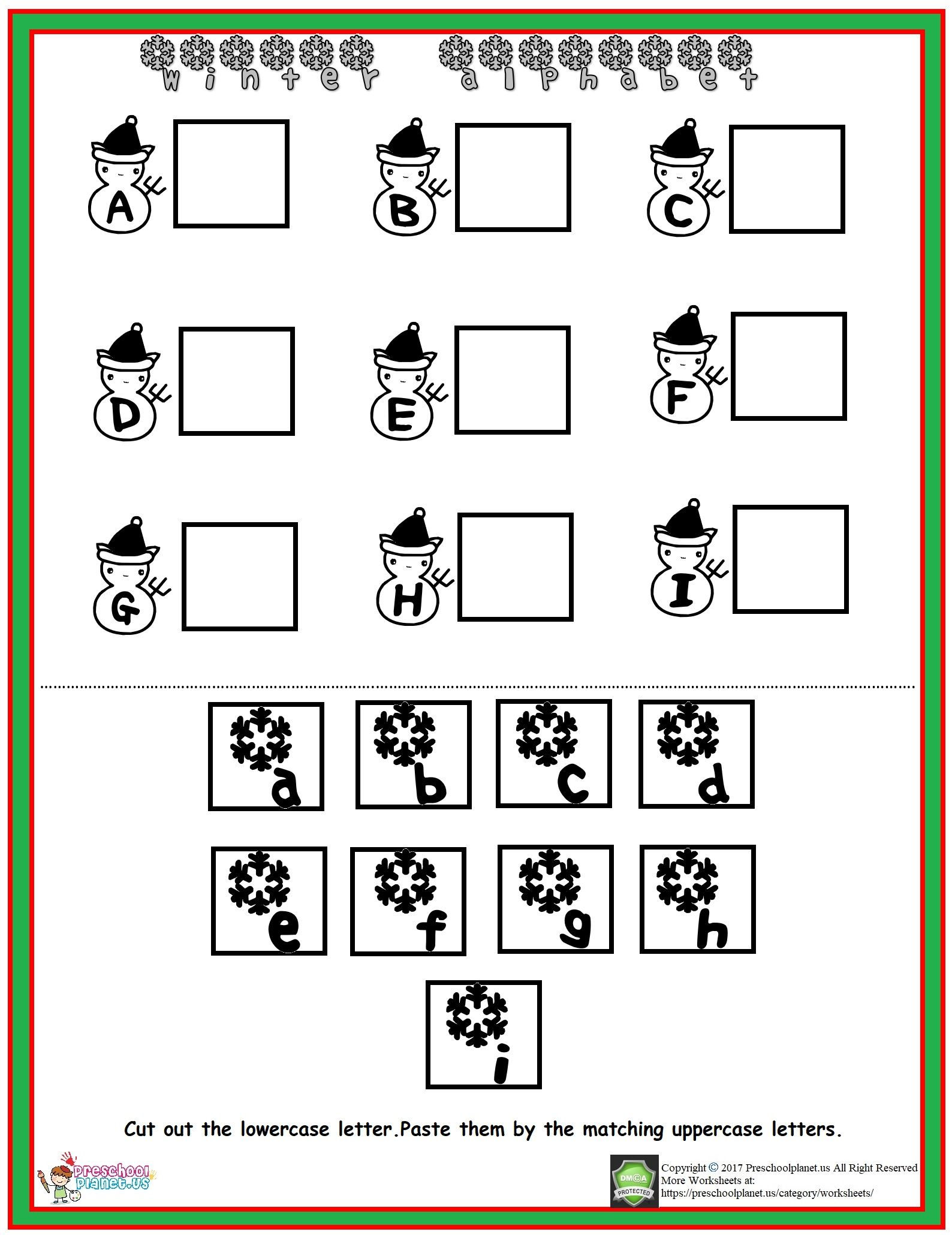 Winter Alphabet Worksheet