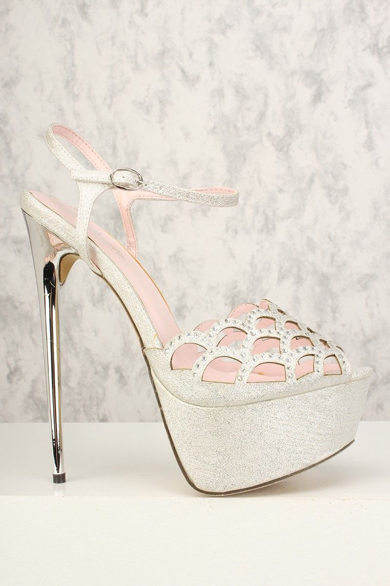 b0669cccf Sexy Silver Perforated Rhinestone Platform Ankle Strap 6 Inch High Heels   Highheels