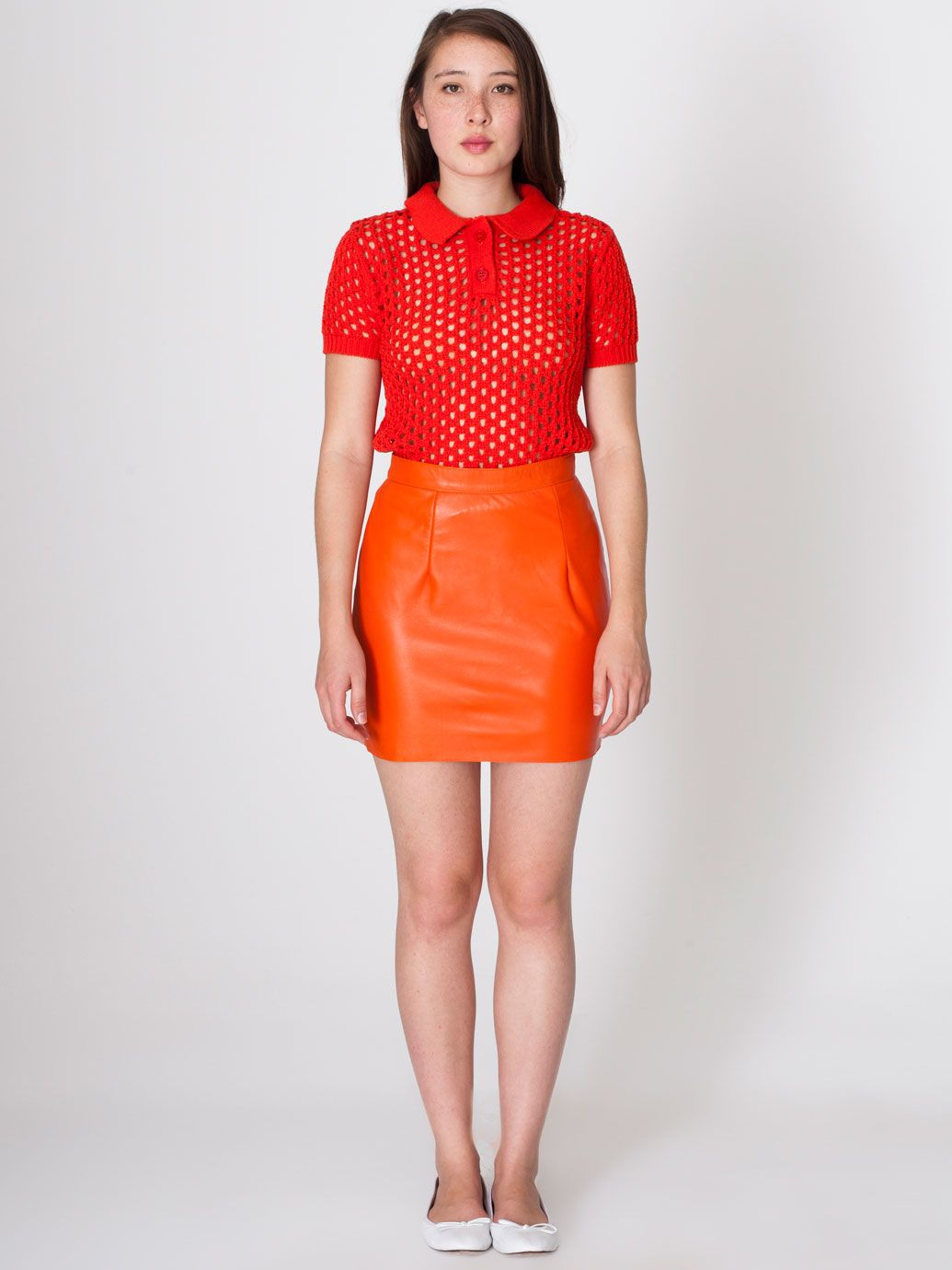 Red Open Knit Tennis Shirt Orange Vinyl Mini Skirt