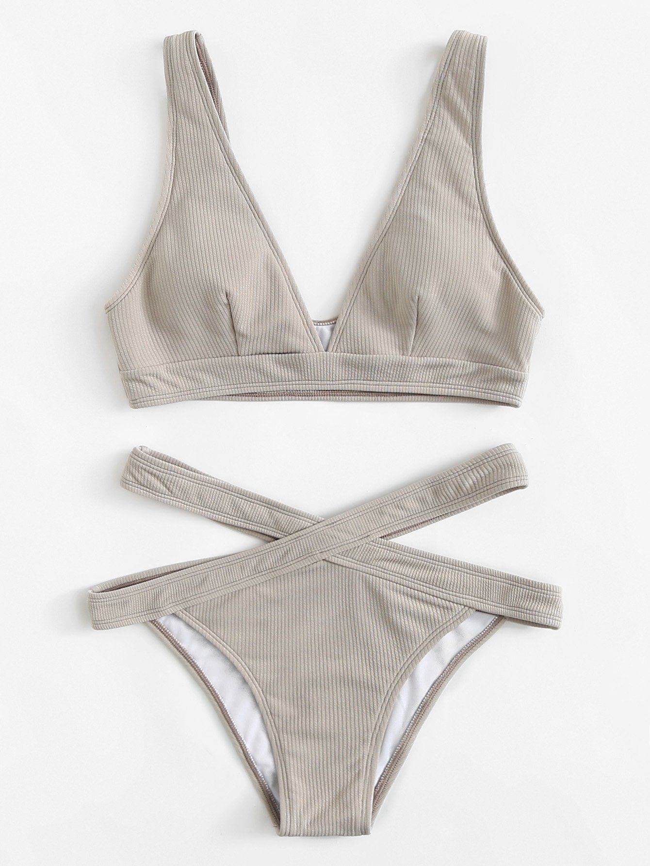 f10827aa9590f Crisscross Solid Bikini SetFor Women-romwe