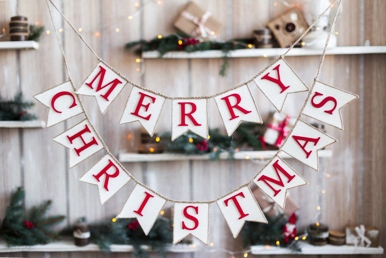 Banner Merry Christmas Snowflake Burlap Garland Christmas Party Winter Sign
