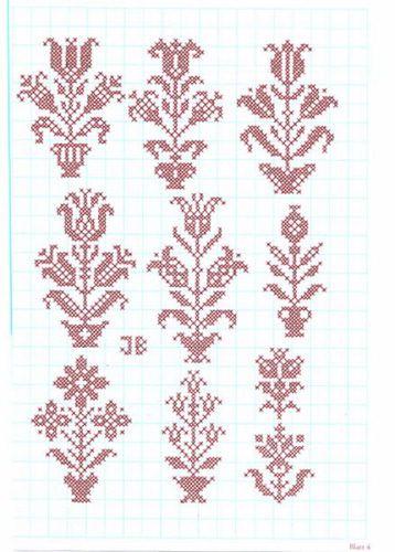 German embroidery pattern Festliche Kreuzstichmuster von Josefine Brogyanyi.