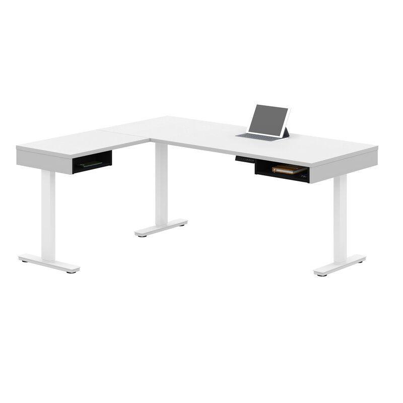 Thilebrook Height Adjustable L Shape Gaming Desk In 2020 Height Adjustable Adjustable Height Table Standing Desk