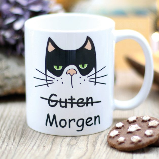 Witzige Geschenkidee: Kaffeetasse mit grummeliger Katze, guten Morgen / funny gift idea for christmas: coffee mug with grumpy cat made by Wandtattoo-Loft via DaWanda.com #funnygifts