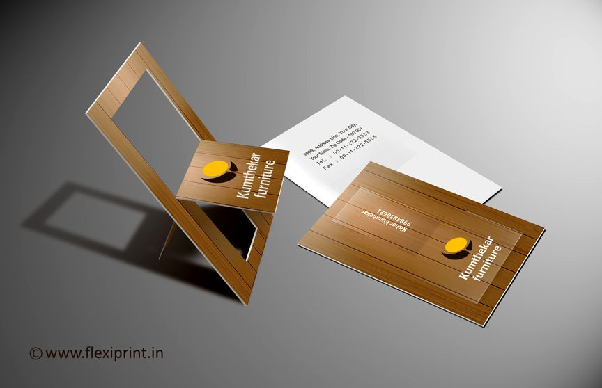 Folding Chair #BusinessCard >> Wooden Texture printing on Business ...