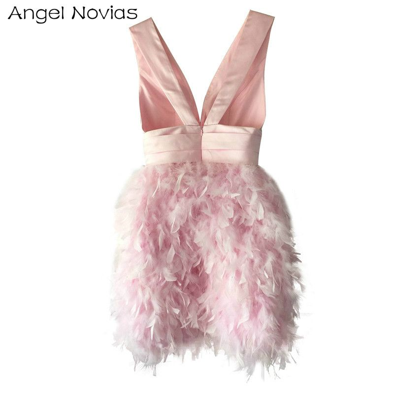 Angel Novias Sexy Pink Elegant Feather Cocktail Dress 2018 Knee ...