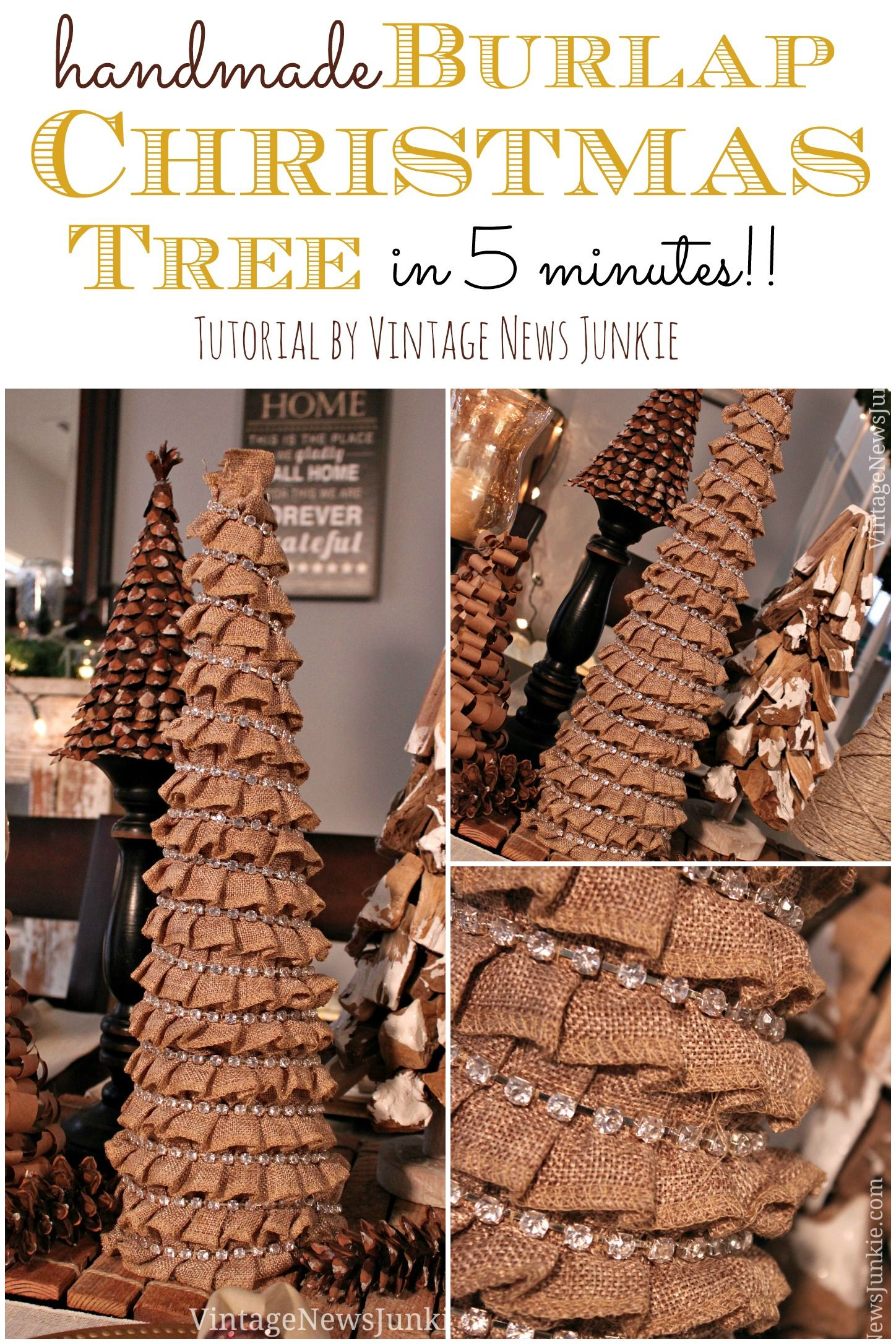 How to make a burlap christmas tree in 5 minutes easy for Adornos navidenos en 5 minutos