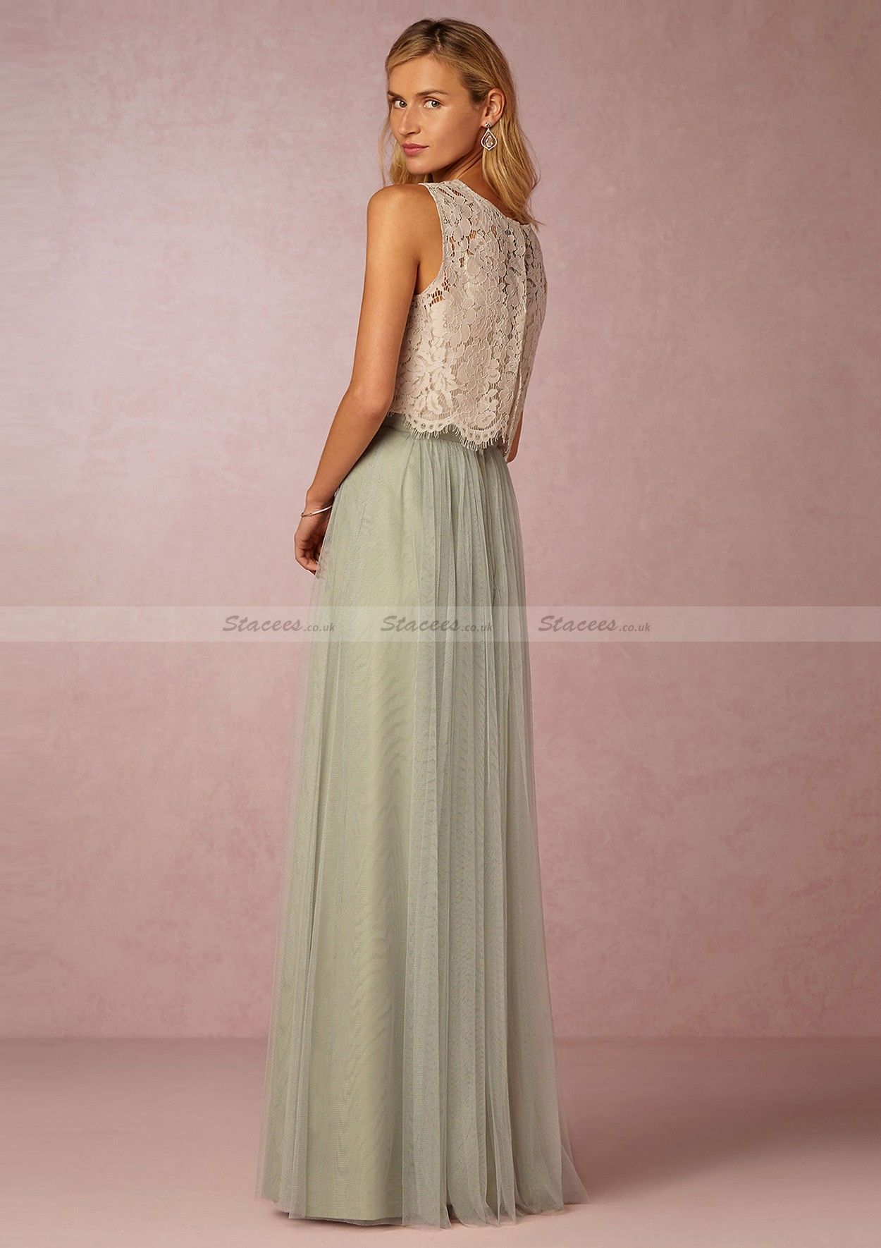 Tulle Long/Floor-Length A-Line/Princess Sleeveless Scoop Neck Zipper ...