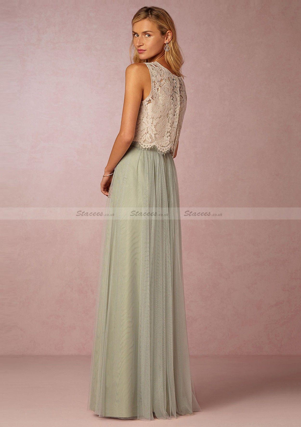 Tulle Long/Floor-Length A-Line/Princess Sleeveless Scoop Neck Zipper ...