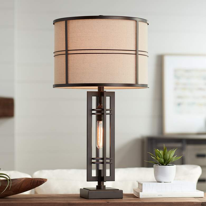 Elias Oil Rubbed Bronze Table Lamp With Night Light 32v47 Lamps Plus In 2021 Industrial Table Lamp Bronze Table Lamp Table Lamps Living Room Oil rubbed bronze table lamps