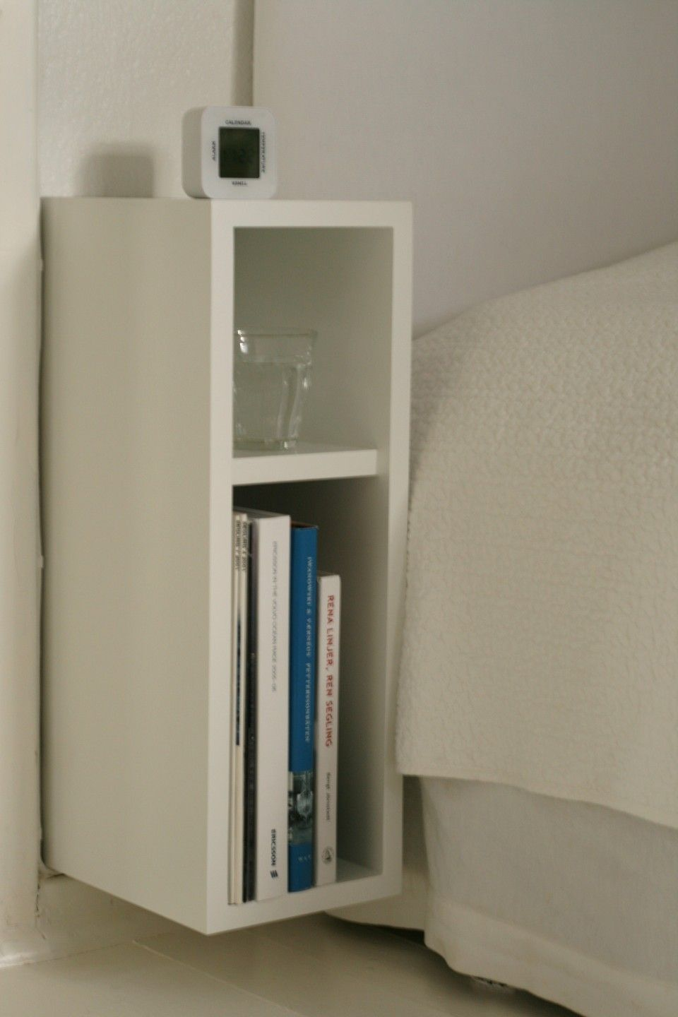 Splendid Wall Mounted Narrow Bedside Table And Cabinet Design For Book Accessories Place