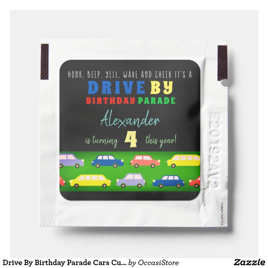 Drive by birthday parade cars cute cartoon hand sanitizer