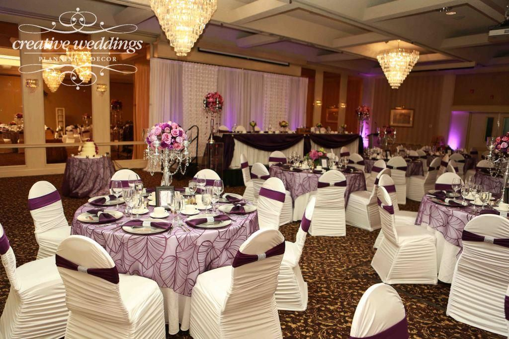 Carriage House Inn Wedding Reception In Purple White Chair Covers With Bands From Dreamer