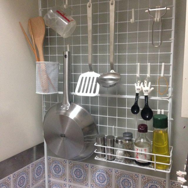 キッチン 一人暮らし 1k 狭いキッチン つっぱり棒 などのインテリア
