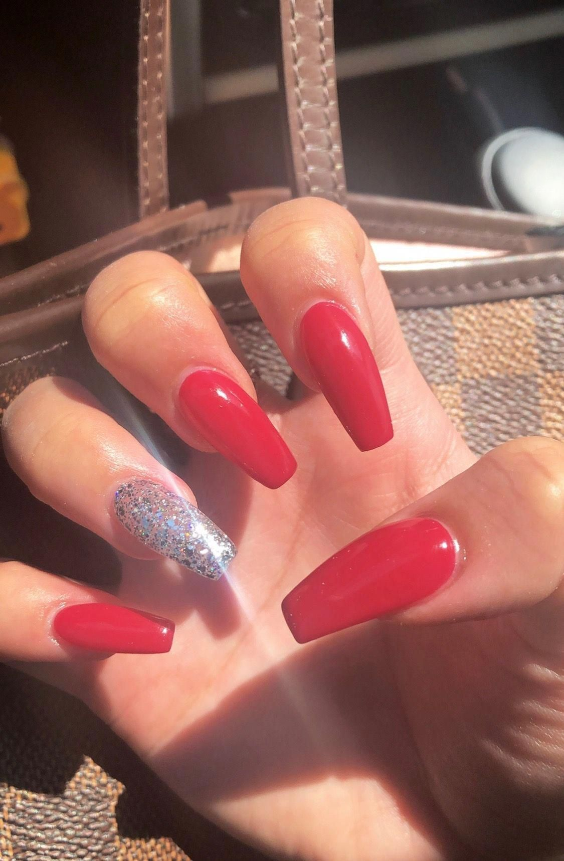 Red coffin nails silver glitter acrylicnailsglitter in 2019