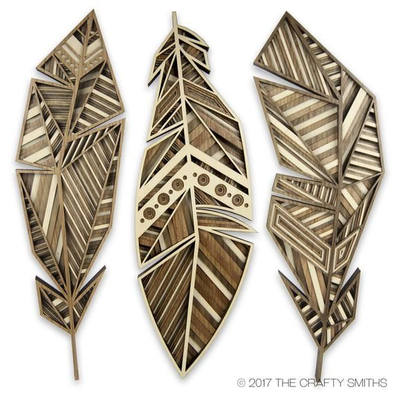 Layered 3D Wood Art  Three Feathers   Golden Eagle  +  RedTailed Hawk  +  Starling   Unique Laser Cut Wall Artworks is part of Wood art - TheCraftySmiths section id 20437599  This listing is a for a complete set of our 3D feather artworks  You can see links below to the individual feathers for sale