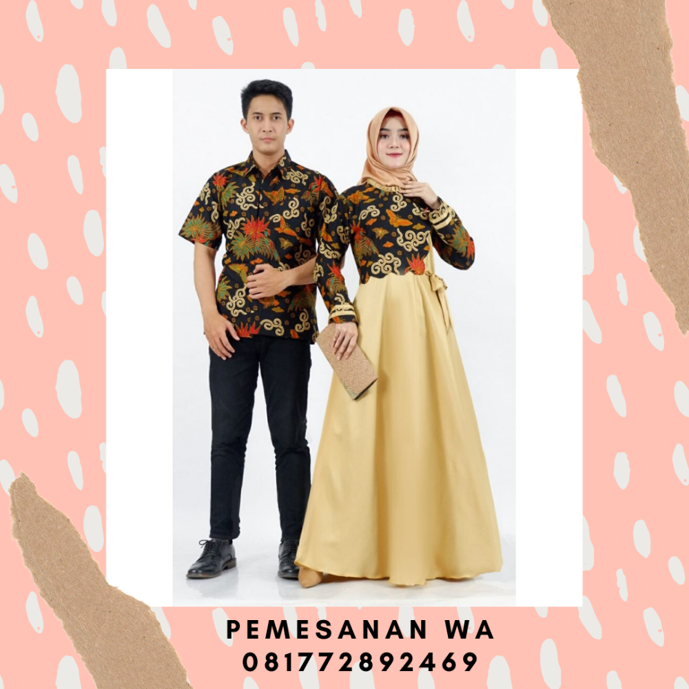 Model Baju Gamis Batik Couple Keluarga Sarimbit Motif Merak Daun